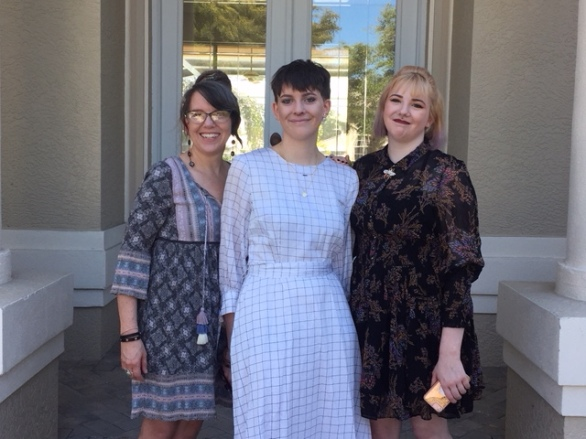 My mom, my sister, and I on Easter